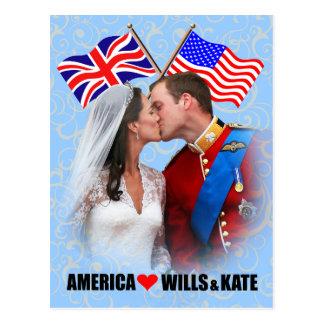 Postal de Guillermo y de Kate - de América
