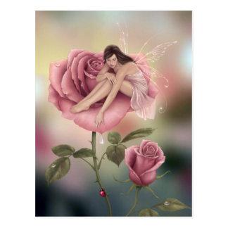 Postal de hadas color de rosa del arte