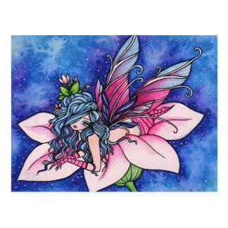 Postal de hadas del arte de la fantasía de la flor