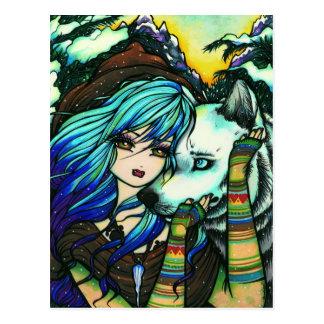 Postal de hadas del arte de la fantasía de la niev
