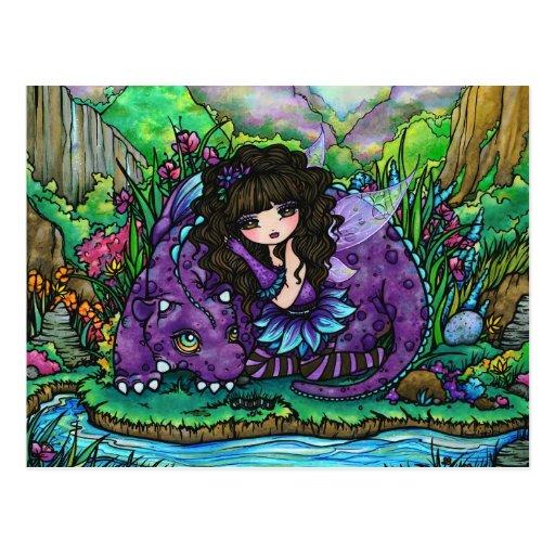Postal de hadas del arte de la fantasía del dragón