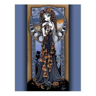 Postal de hadas del arte de la luna gótica de la f