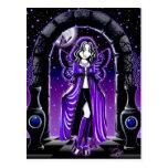 Postal de hadas del arte de la mariposa azul gótic