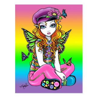 """Postal de hadas del arte de la mariposa linda """"sol"""