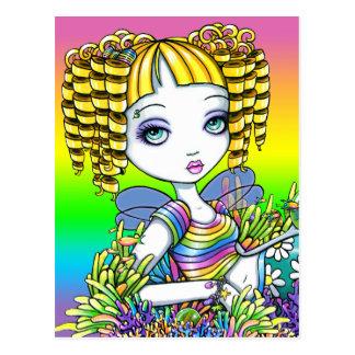 Postal de hadas del arte de la sirena linda del ar