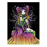 Postal de hadas del arte del arco iris celestial d