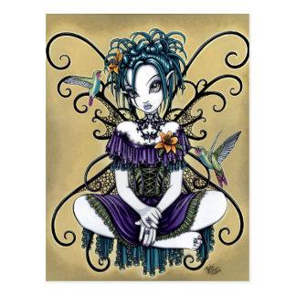 Postal de hadas del arte del colibrí gótico de Li