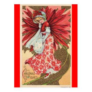 postal de hadas del chica del navidad del victoria