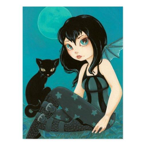 Postal de hadas del gato negro de Hijinks- del cla