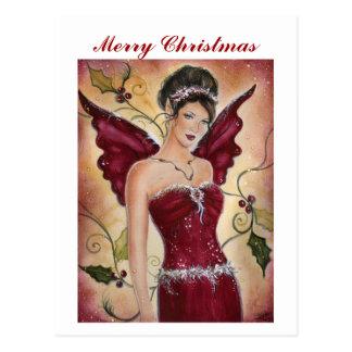 Postal de hadas del navidad del acebo rojo por Ren