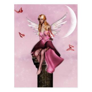 Postal de hadas rosada de la fantasía