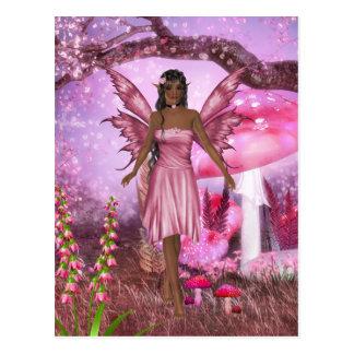 Postal de hadas rosada del jardín
