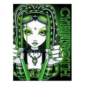 Postal de hadas verde tóxica de Vivian Cybergoth