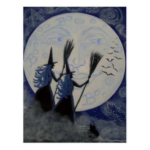 Postal de Halloween, brujas, hombre en la luna
