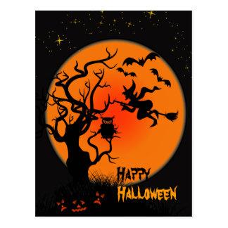 Postal de Halloween de la bruja y del búho de