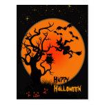 Postal de Halloween de la bruja y del búho de Hall