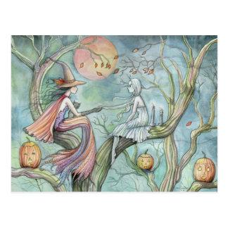 Postal de Halloween de la bruja y del fantasma