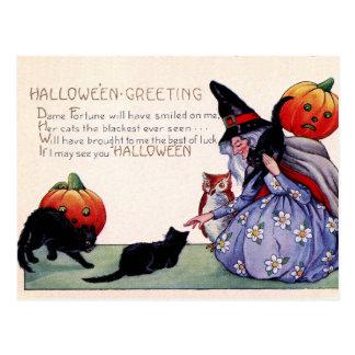 Postal de Halloween del búho del gato negro de la