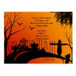 Postal de Halloween del camino del cementerio