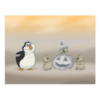 Postal de Halloween del pingüino