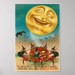 Postal de Halloween del vintage Póster