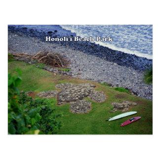 Postal de Hawaii del parque de la playa de