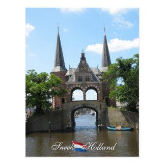 Postal de Holanda de la puerta de agua de Sneek