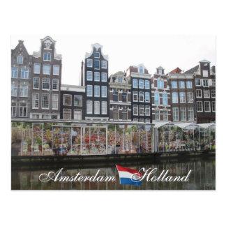 Postal de Holanda del mercado de la flor de Amster