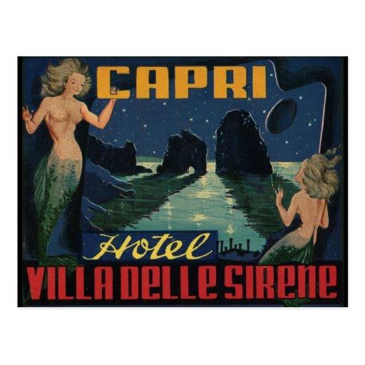 Postal de Italia del vintage (isla de Capri)