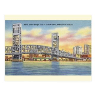 Postal de Jacksonville del puente de la calle