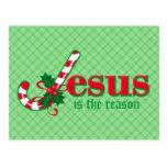 Postal de Jesús del bastón de caramelo