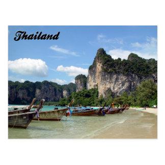 Postal de Krabi Tailandia de los barcos de Longtai