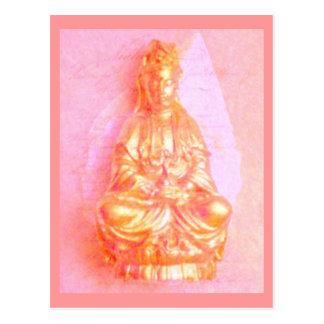 Postal de Kwan Yin del Rosa-Oro