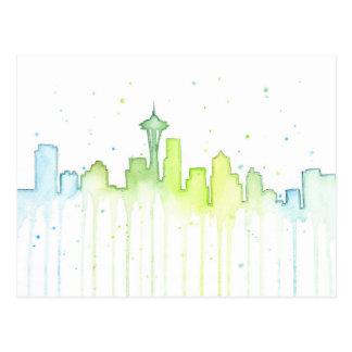 Postal de la acuarela de Seattle Washington