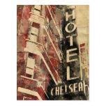 Postal de la acuarela del vintage del hotel de Che