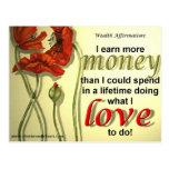 Postal de la afirmación del dinero