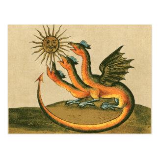 postal de la alquimia - dragón y sol de oro -