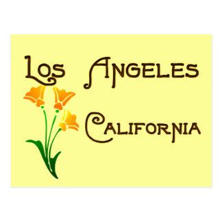 Postal de la amapola del vintage de Los Ángeles Ca