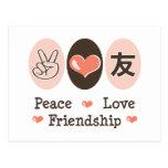 Postal de la amistad del amor de la paz