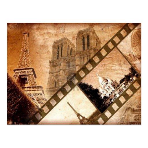 Postal de la apariencia vintage de París