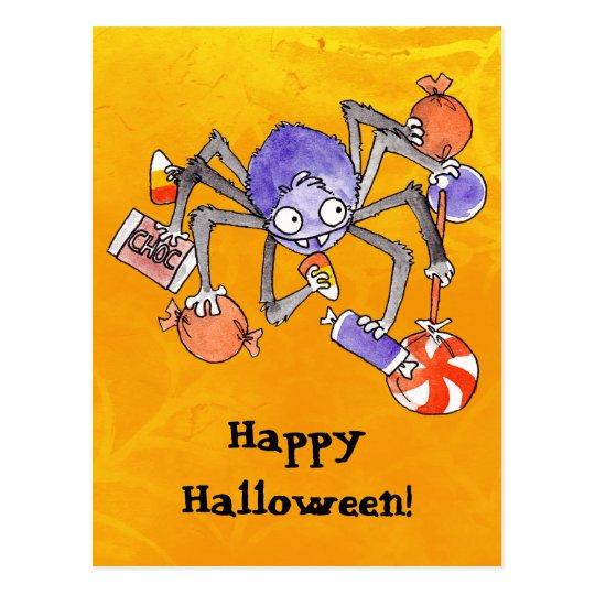 Postal de la araña de Halloween