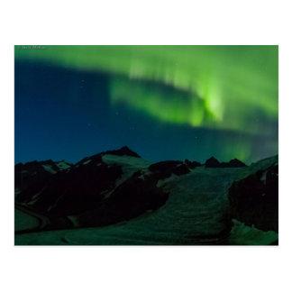 Postal de la aurora boreal de Juneau Icefield ACTU