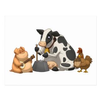 Postal de la banda de jarro del animal del campo