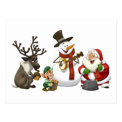 Postal de la banda de jarro del navidad