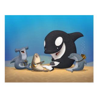 Postal de la banda de jarro del océano