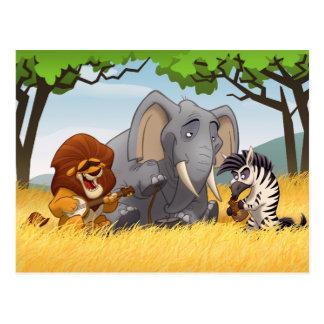 Postal de la banda de jarro del safari