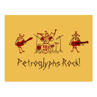 Postal de la banda de rock de los petroglifos