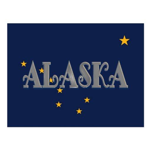 Postal de la bandera de Alaska los E.E.U.U.
