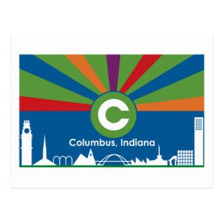 Postal de la bandera de Columbus Indiana