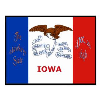Postal de la bandera de Iowa